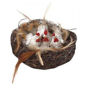 Πασχαλινή διακοσμητική φωλιά με κοκοράκια σετ των τεσσάρων τεμαχίων 9x6 εκ