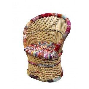 Boho πολυθρόνα από bamboo πολύχρωμη 63x46x89 εκ