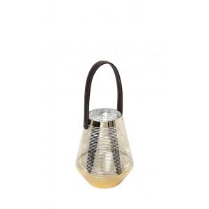 Γυάλινο φανάρι με χρυσές ρίγες και χερούλι από δερματίνη 15x16 εκ
