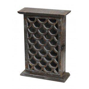 Vintage ξύλινη κλειδοθήκη σε καφέ απόχρωση 23x8x31 εκ