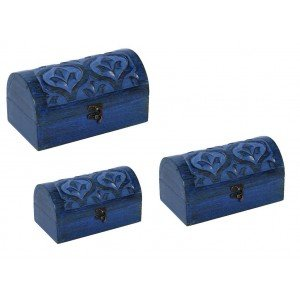 Ξύλινο κουτί μπαουλάκι σε μπλε χρώμα σετ των τριών τεμαχίων σε διαφορετικά μεγέθη