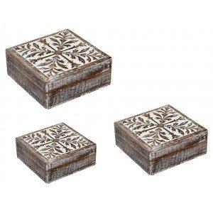 Vintage ξύλινα κουτιά αποθήκευσης σε λευκή απόχρωση σετ των τριών τεμαχίων σε διαφορετικά μεγέθη