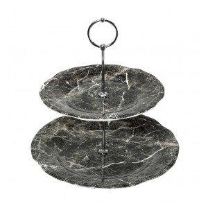 Marble πιατέλα δύο επιπέδων σε μαύρο χρώμα 27 εκ