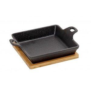 Μαντεμένιο σκεύος για σαγανάκι τετράγωνο με βάση από bamboo 20x15x5 εκ