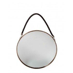 Minimal καθρέπτης στρογγυλός σε χάλκινη απόχρωση με καφέ σχοινί 30 εκ