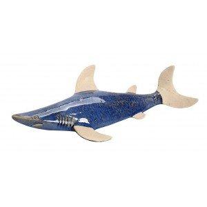 Κεραμικό διακοσμητικό τοίχου καρχαρίας σε γαλάζια απόχρωση 42x22x6 εκ