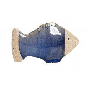 Κεραμικό διακοσμητικό τοίχου ψαράκι σε γαλάζια απόχρωση σετ των έξι τεμαχίων 15x4x9 εκ