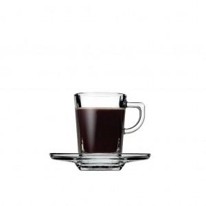 Carre φλυτζανάκι και πιατάκι γυάλινο για εσπρέσο σετ των έξι τεμαχίων 10x7 εκ