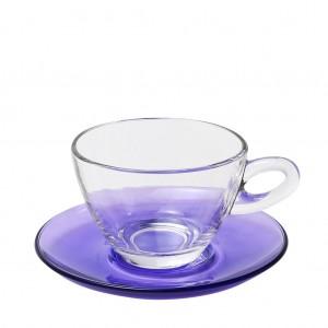 Mocca γυάλινο φλυτζάνι και πιατάκι για καπουτσίνο σε μωβ χρώμα σετ των έξι τεμαχίων 10x7 εκ