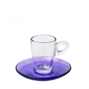 Mocca γυάλινο φλυτζάνι και πιατάκι για εσπρέσο σε μωβ χρώμα σετ των έξι τεμαχίων 5x7 εκ