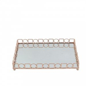 Διακοσμητικός δίσκος με καθρέπτη σε ροζ χρυσή απόχρωση 45x30x6 εκ