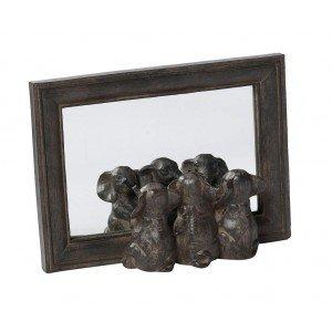 Καθρέπτης από πολυρέζιν σε καφέ χρώμα με ελέφαντες 22x16 εκ