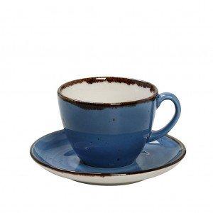 Terra Blue φλυτζάνι και πιατάκι για καπουτσίνο Jumbo σετ των έξι 350 ml