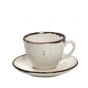 Terra Cream πορσελάνινο φλυτζάνι με πιατάκι σε κρεμ χρώμα σετ των έξι τεμαχίων 16x8 εκ