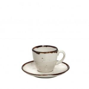 Terra Cream πορσελάνινο φλυτζάνι με πιατάκι σε κρεμ χρώμα σετ των έξι τεμαχίων 12x6 εκ