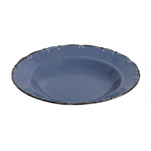 Liana πορσελάνινο πιάτο βαθύ γαλάζιο με καφέ φινίρισμα σετ έξι τεμαχίων 23x5 εκ