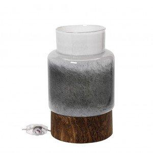 Λαμπατέρ γυάλινο σε λευκό και γκρι χρώμα πάνω σε ξύλινη βάση 22x35 εκ