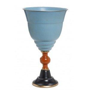 Μεταλλικό vintage βάζο σε μπλε αποχρώσεις 29x48 εκ