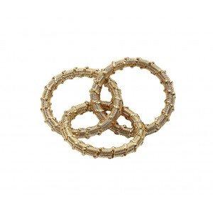 Δαχτυλίδι πετσέτας διακοσμητικό σπιράλ σε χρυσό χρώμα σετ των έξι 6 εκ