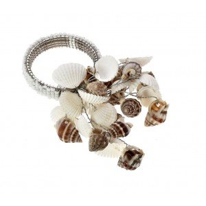 Boho δαχτυλίδι πετσέτας με κοχύλια σε μπεζ και λευκό χρώμα σετ των έξι τεμαχίων 6 εκ