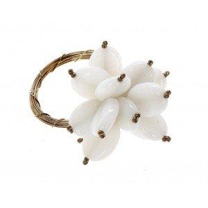 Boho δαχτυλίδι πετσέτας με κοχύλια σε λευκό χρώμα σετ των έξι τεμαχίων 6 εκ