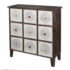 Ethnic συρταριέρα με εννέα συρτάρια σε λευκή και καφέ απόχρωση 89x34x99 εκ