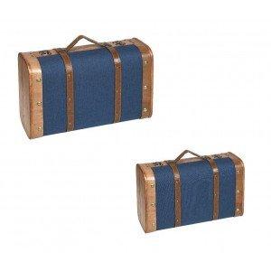 Διακοσμητικό μπλε βαλιτσάκι σετ των δύο 45 εκ 38 εκ
