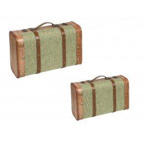 Διακοσμητικό πράσινο βαλιτσάκι σετ των δύο 45 εκ 38 εκ