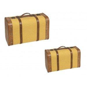 Διακοσμητικό κίτρινο βαλιτσάκι σετ των δύο 45 εκ 38 εκ