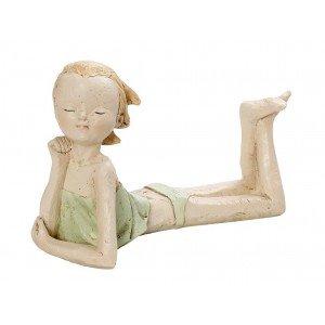 Διακοσμητική φιγούρα κοριτσάκι από πολυρέζιν σε πράσινη απόχρωση 17 εκ