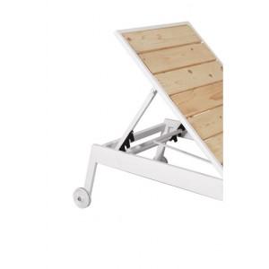 Μεταλλική ανακλινόμενη ξαπλώστρα πέντε θέσεων με ξύλο πεύκου και μεταλλικό σκελετό 192x60x35 εκ
