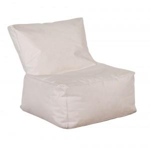 Πολυθρόνα πουφ με αδιάβροχο ύφασμα σε λευκό χρώμα 75x75x35 εκ