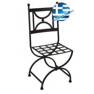 Ρετρό μεταλλική καρέκλα μασίφ γαλβανιζέ σε μαύρο χρώμα 42x52x92 εκ