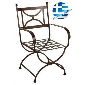 Πολυθρόνα εξωτερικού χώρου ρετρό γαλβανιζέ σε μαύρο χρώμα 56x60x92 εκ