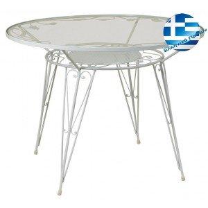 Στρογγυλό τραπέζι μασίφ Φερ Φορζέ σε λευκό χρώμα 100x75 εκ
