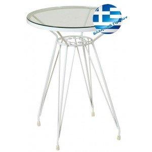 Retro μεταλλικό τραπέζι σε λευκό χρώμα 50x66 εκ