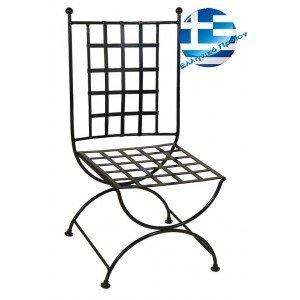 Ρετρό μεταλλική καρέκλα μασίφ καρέ σε μαύρο χρώμα 50x62x98 εκ