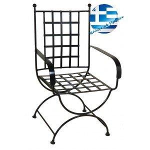 Ρετρό μεταλλική καρέκλα μασίφ καρέ σε μαύρο χρώμα 58x62x98 εκ