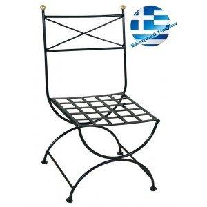 Ρετρό μεταλλική καρέκλα μασίφ χιαστί σε μαύρο χρώμα 58x58x89 εκ