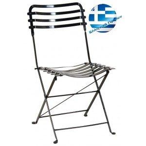 Γαλβανισμένη πτυσσόμενη μεταλλική καρέκλα τύπου Ζαππείου 43x57x83 εκ