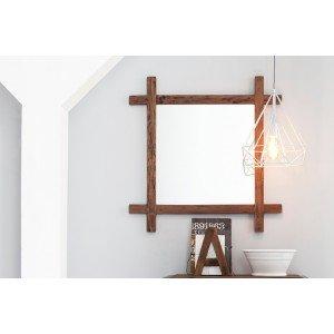 Επιτοίχιος καθρέφτης από παλαιωμένο ξύλο teak 85x4x85 εκ