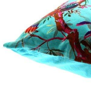 Διακοσμητικό βελούδινο μαξιλάρι σε τυρκουάζ χρώμα με πουλιά 45x45 εκ