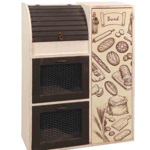 Vintage ψωμιέρα καφέ διπλή με συρμάτινο ντουλάπι