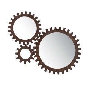 Καθρέφτης επιτοίχιος με γρανάζια σε καφέ χρώμα