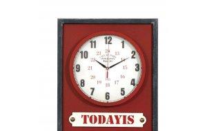 Επιτοίχιο ρολόι ημερολόγιο σε μπορντό χρώμα