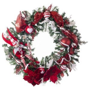 Fancy Harlequin έτοιμο στολισμένο Χριστουγεννιάτικο στεφάνι mix με λαμπάκια 90 εκ