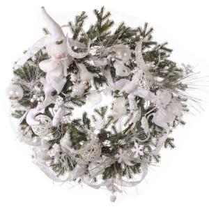 Snowy Harlequin έτοιμο στολισμένο Χριστουγεννιάτικο στεφάνι full plastic με λαμπάκια 90 εκ