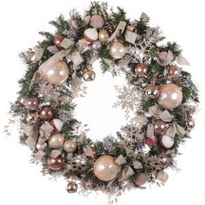 Golden Snowflakes έτοιμο στολισμένο Χριστουγεννιάτικο mix στεφάνι με λαμπάκια 120 εκ