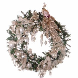 Christmas Peacock έτοιμο στολισμένο Χριστουγεννιάτικο στεφάνι full plastic με λαμπάκι 120 εκ
