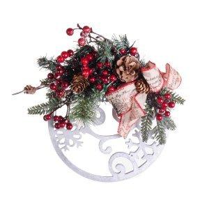 Χριστουγεννιάτικο ξύλινο στολισμένο στεφάνι με παράσταση 25x28 εκ